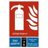 Panneau signalétique extincteur à eau avec additif