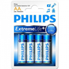 4 piles alcalines LR6 AA Philips Extreme Life
