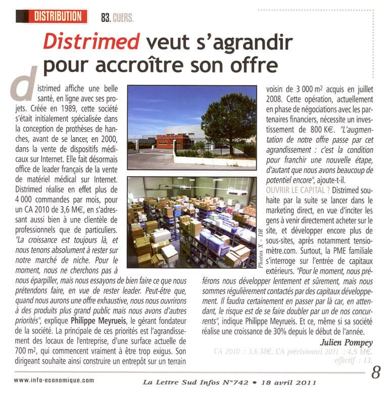 Distrimed : Lettre Sud info Avril 2009