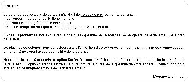 La garantie de votre lecteur SESAM-Vitale